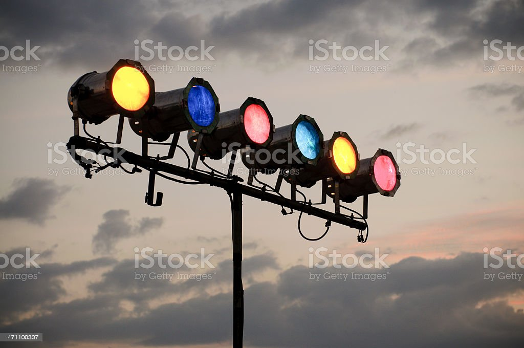 Coloured Stage Lights Outdoors royalty-free stock photo
