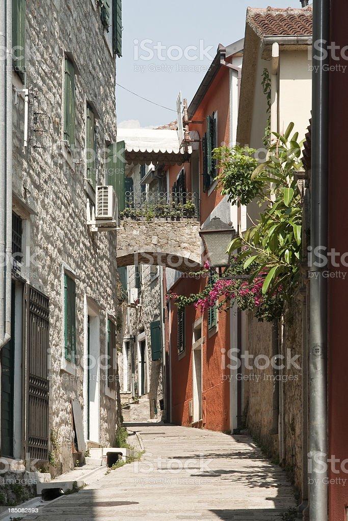 Coloured street in Herceg Novi stock photo