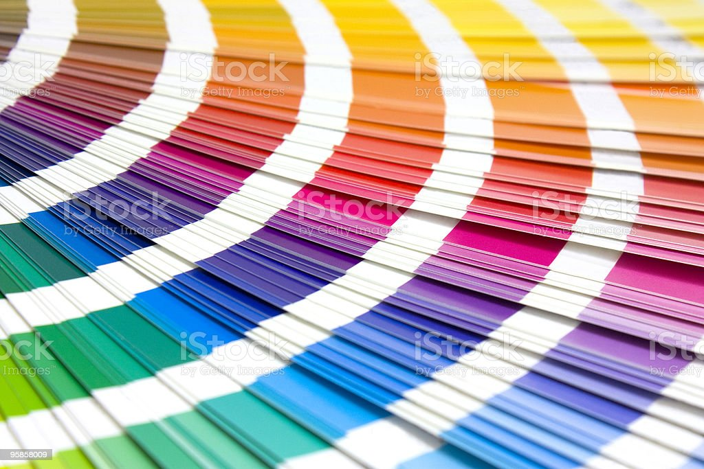coloured swatches book stock photo