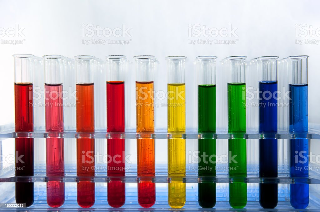 Coloured test tubes royalty-free stock photo