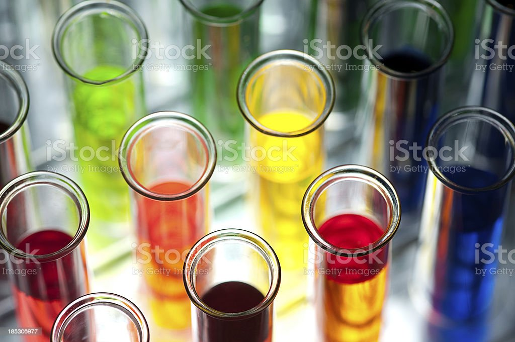 Coloured test tubes Shallow DOF royalty-free stock photo