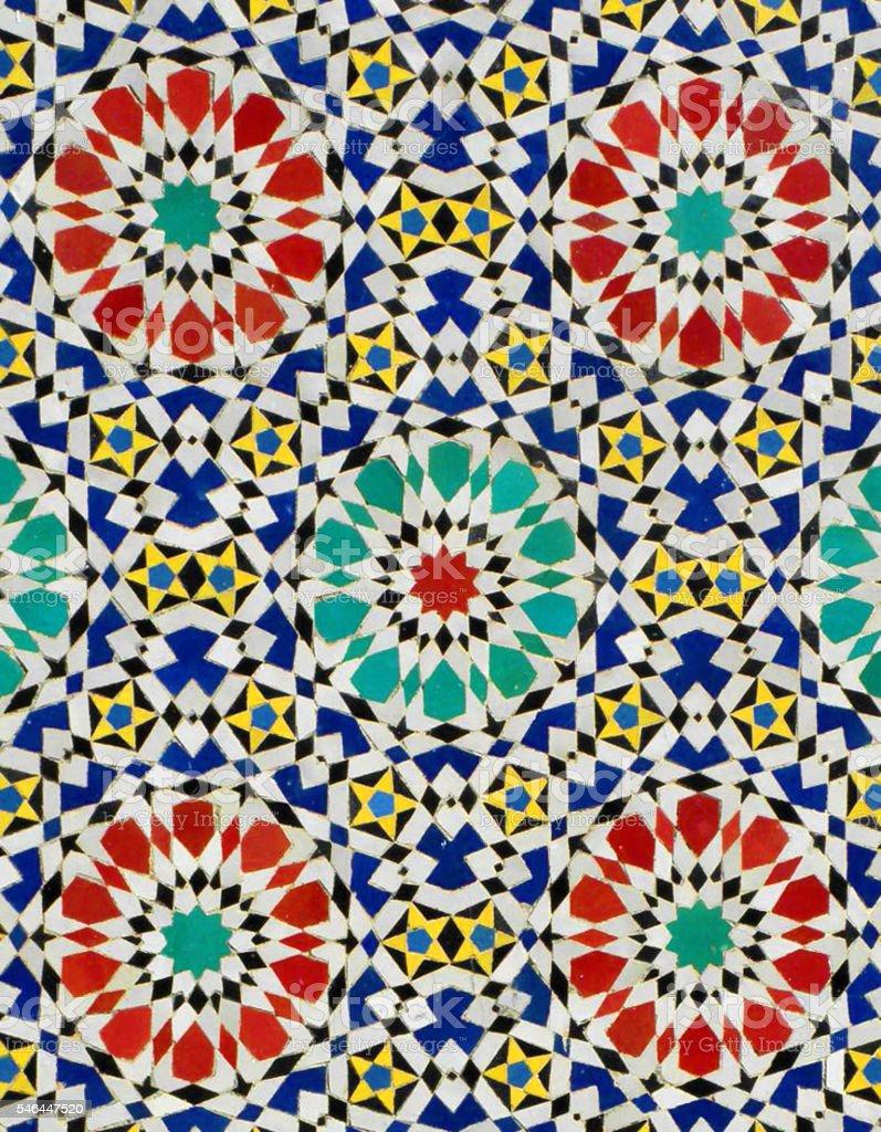 coloured tiles in Fez Morocco stock photo