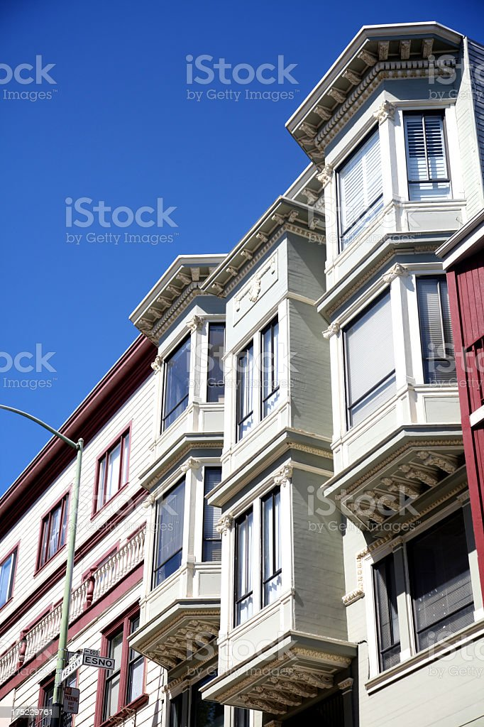 Coloured Victorian Houses royalty-free stock photo