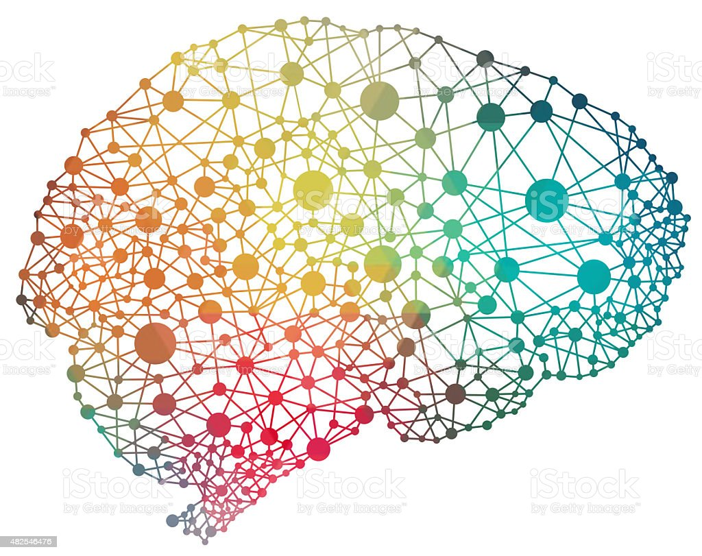 colourful abstract brain illustration stock photo