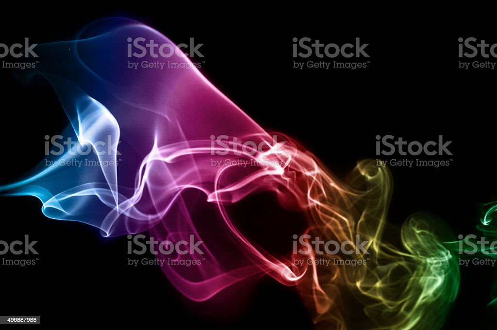 Colourful Abstract Flowing Smoke Pattern stock photo