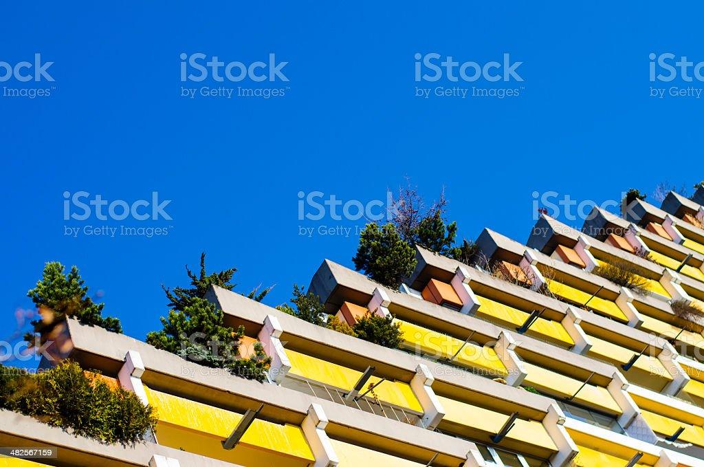 colourful apartment block stock photo