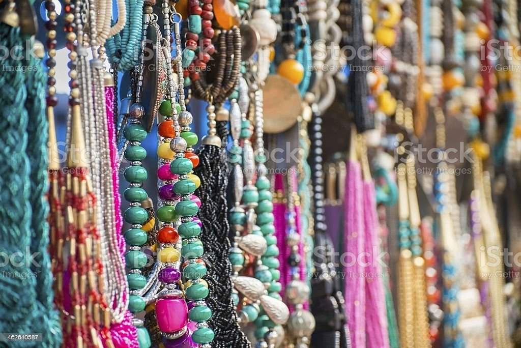 Colourful Assortment of Costume Jewellery at Outdoor Market stock photo
