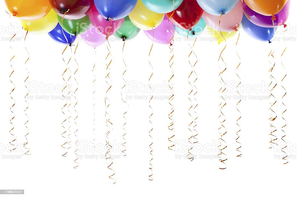 colourful balloons filled with helium and golden streamers royalty-free stock photo