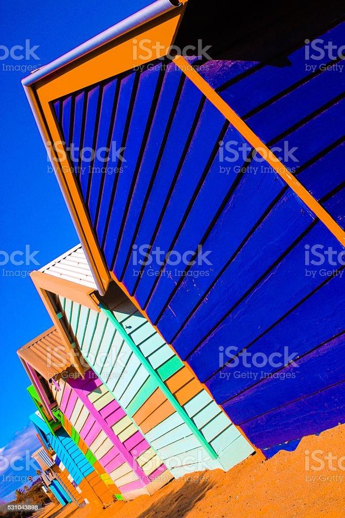 Colourful bathing huts Brighton Beach Melbourne stock photo