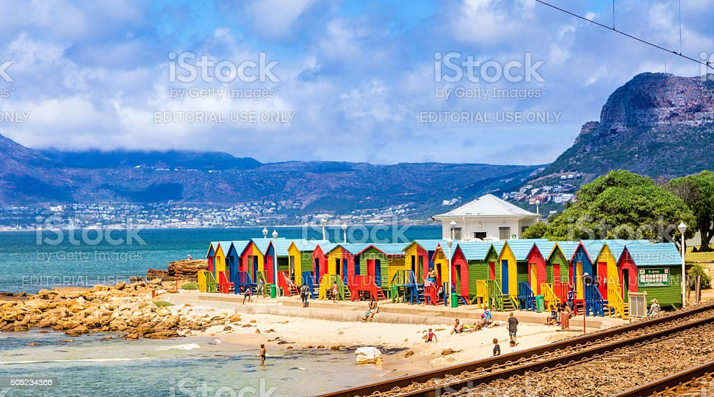 Colourful Bathing huts seen in Kalk Bay stock photo