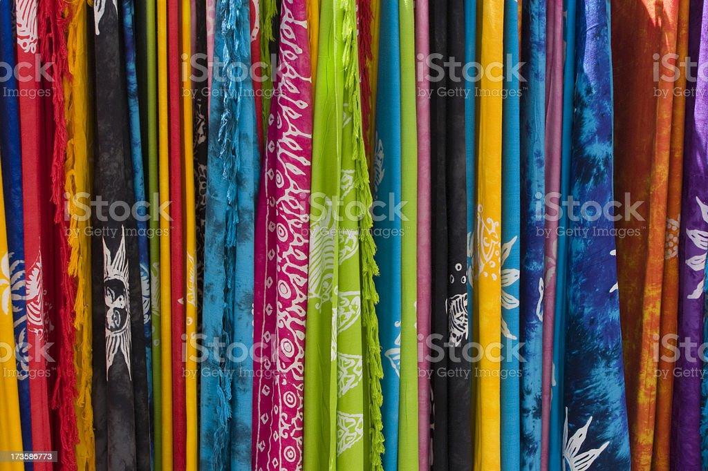 Colourful Beach Cover Ups Greek Market stock photo