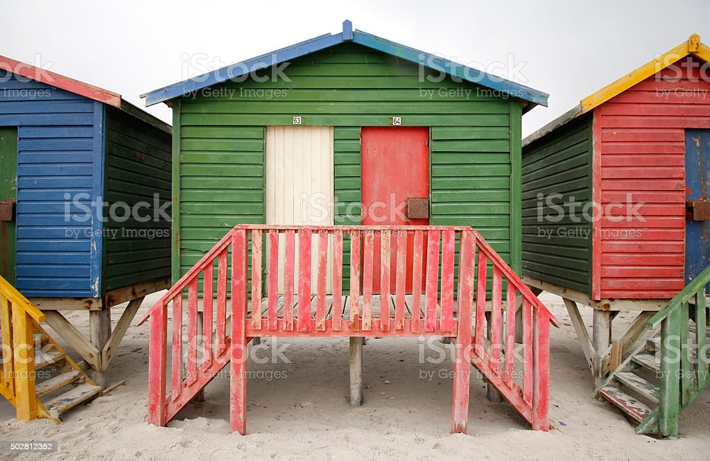 Colourful beach houses stock photo