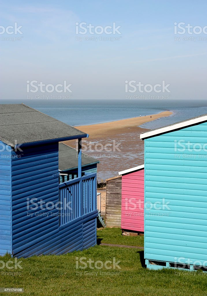 Colourful beach huts at whitstable Kent stock photo