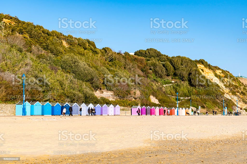 Colourful beach huts in Bournemouth stock photo