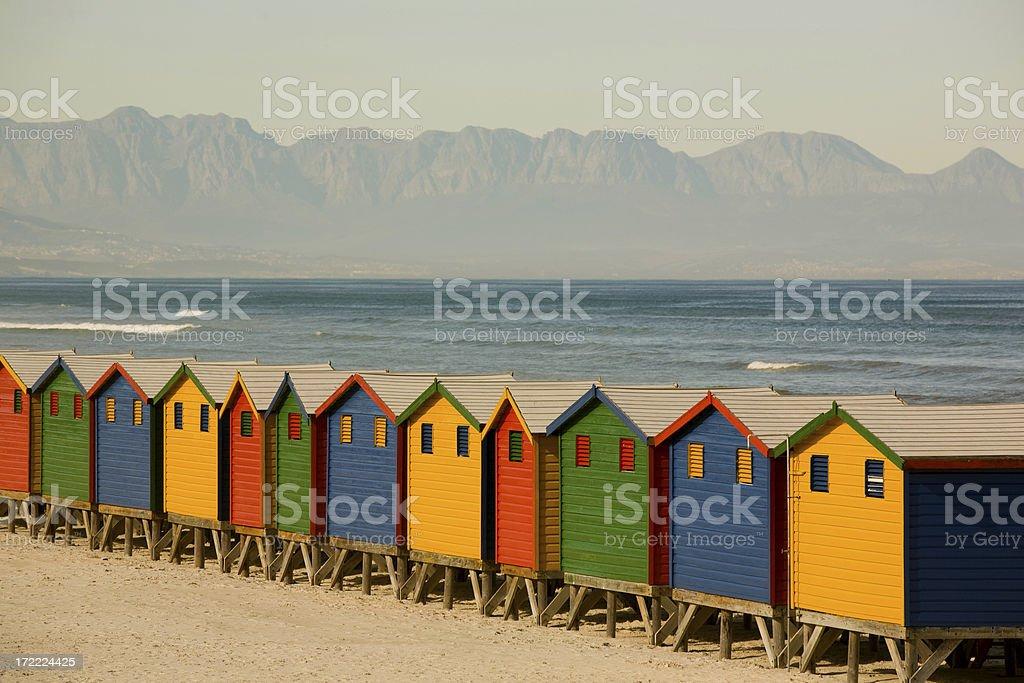 Colourful beach huts royalty-free stock photo
