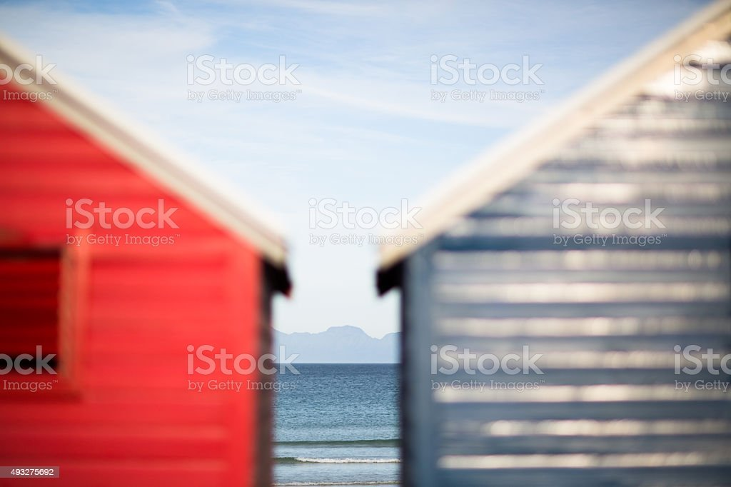 Colourful Beach Huts stock photo