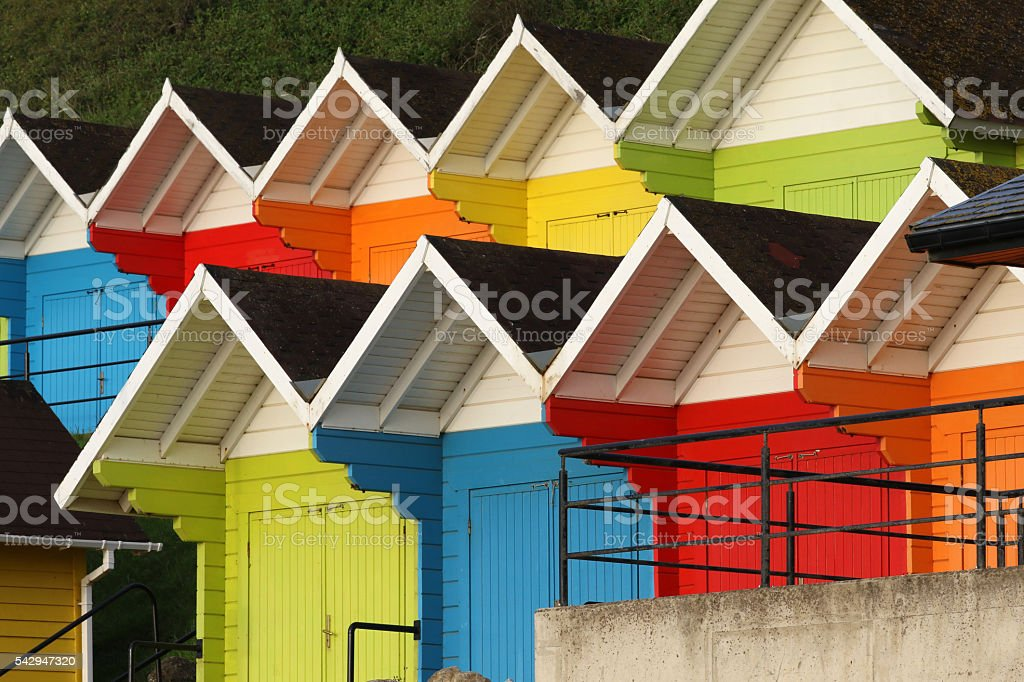 Colourful Beach Huts, Scarborough, England stock photo