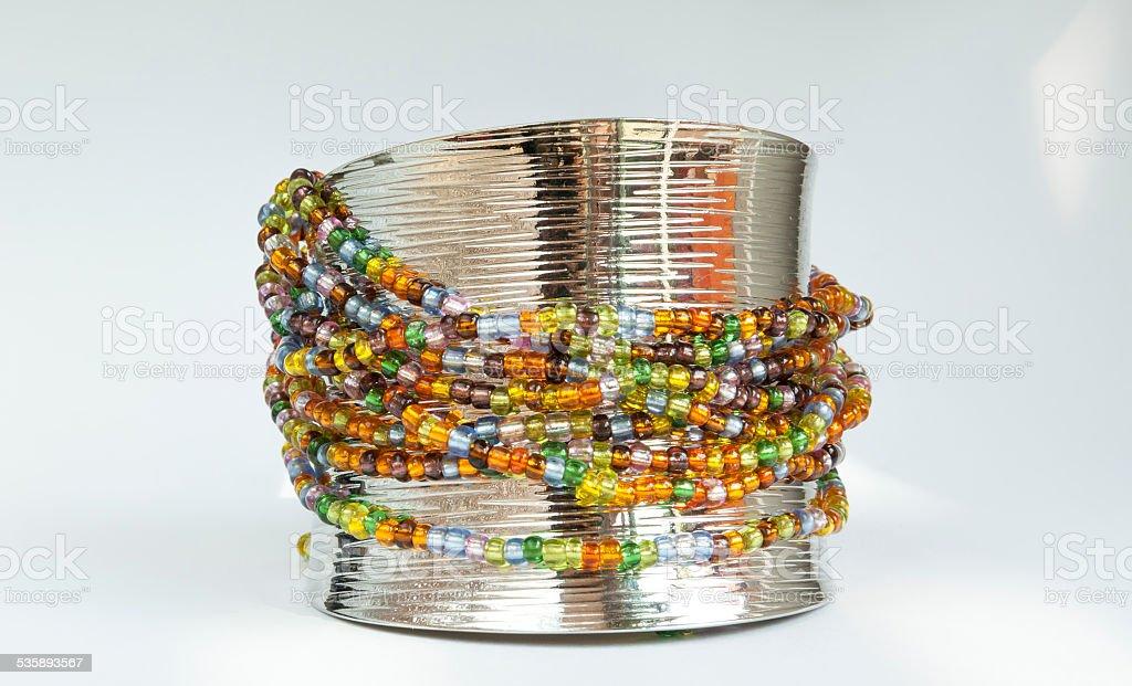 Colourful beads bracelet royalty-free stock photo