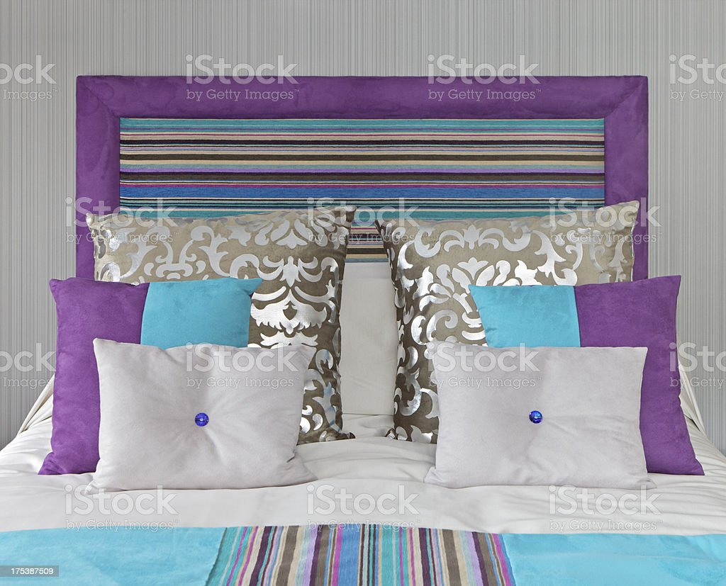 colourful bed setting royalty-free stock photo