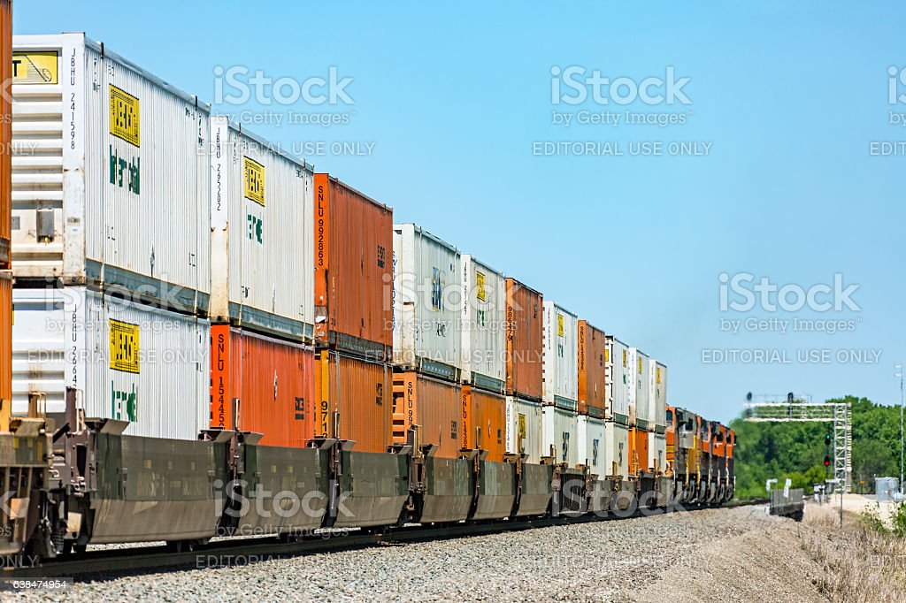Colourful BNSF double-stack container train in rural Kansas stock photo