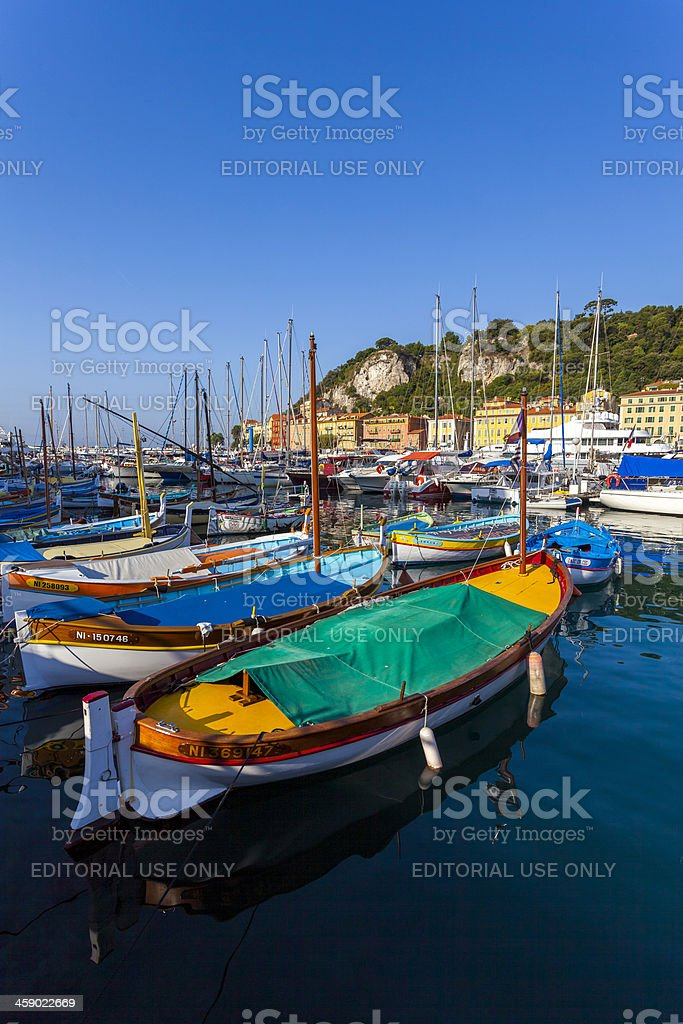 Colourful boats, Nice, France royalty-free stock photo