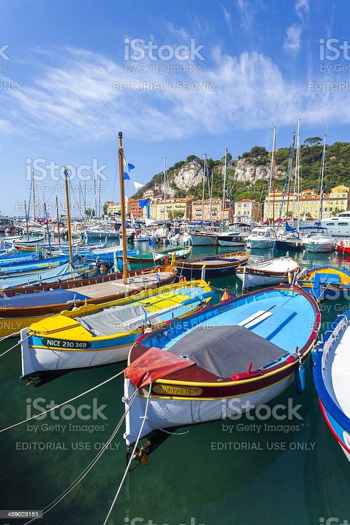 Colourful boats, Nice, France stock photo