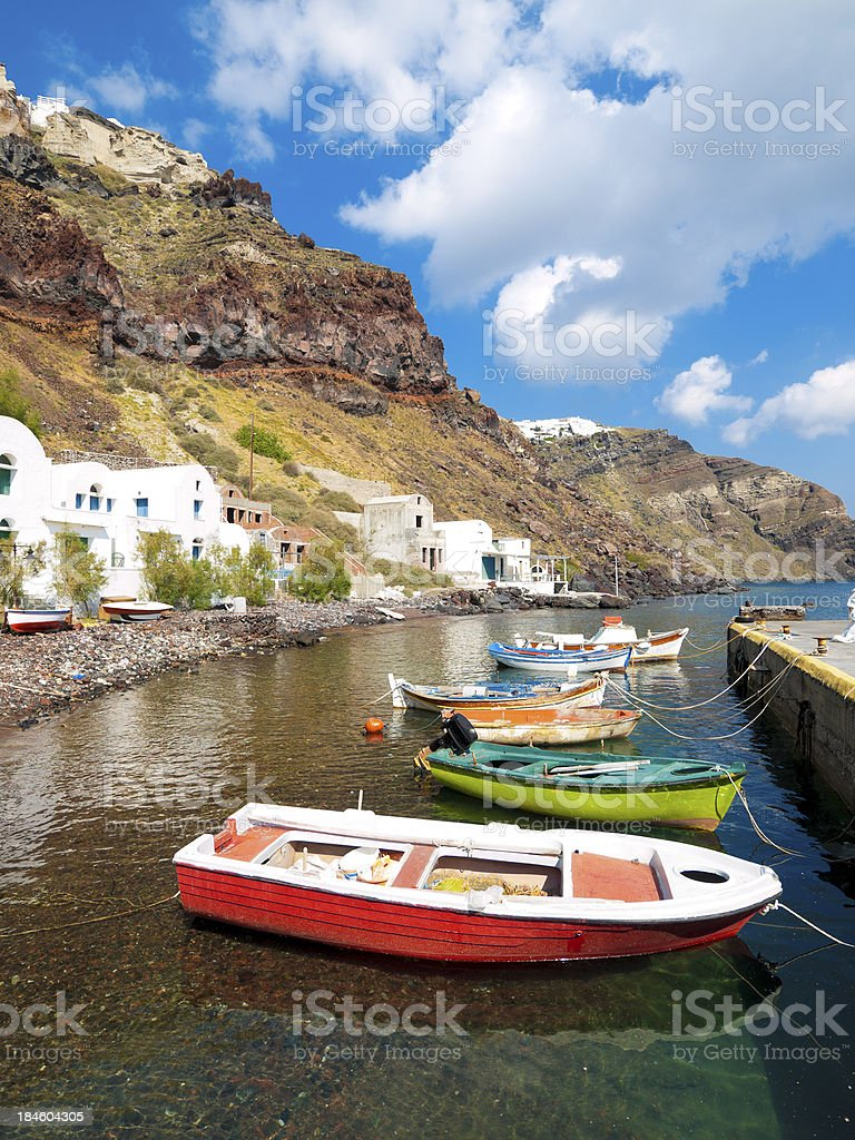 Colourful Boats, Santorini, Greece royalty-free stock photo