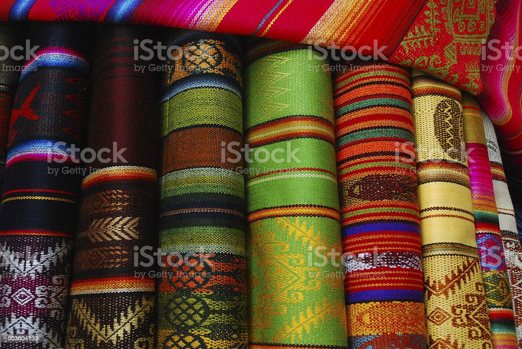 Colourful bolts of fabric royalty-free stock photo