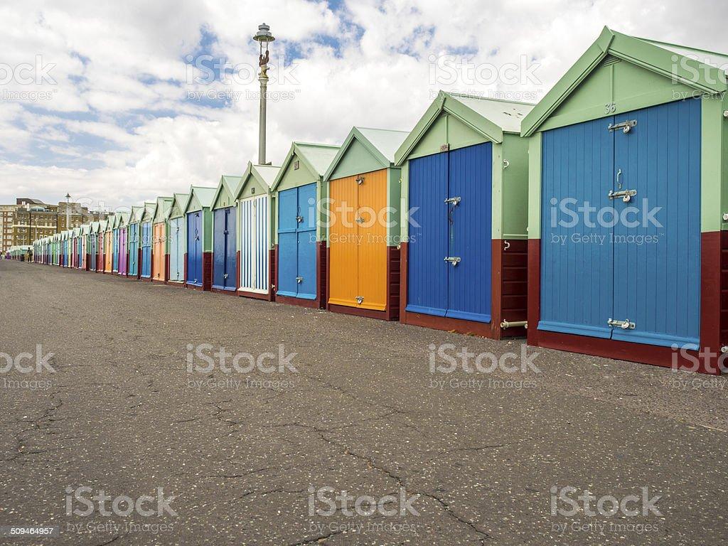 Colourful Brighton beach huts stock photo