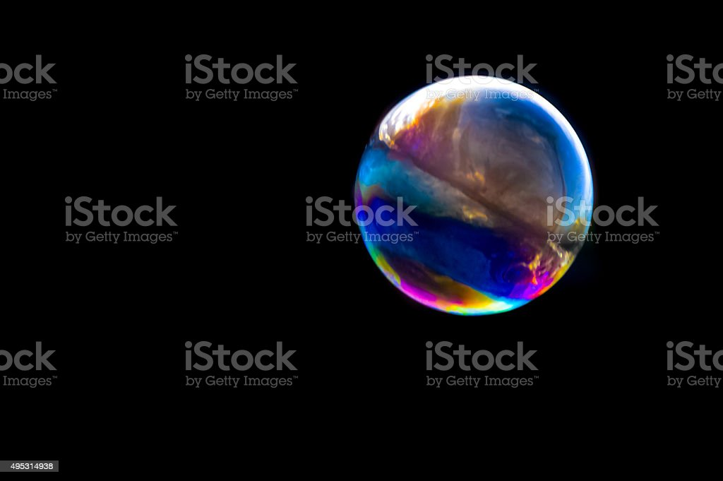 Colourful bubble with black background stock photo