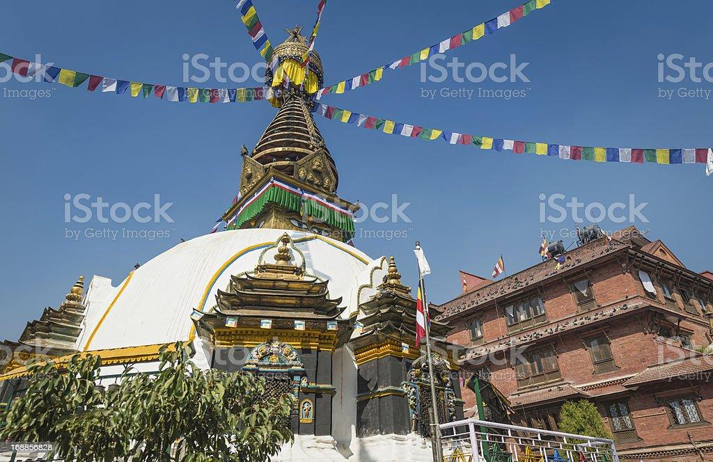 Colourful Buddhist prayer flags white stupa Kathmandu Nepal royalty-free stock photo