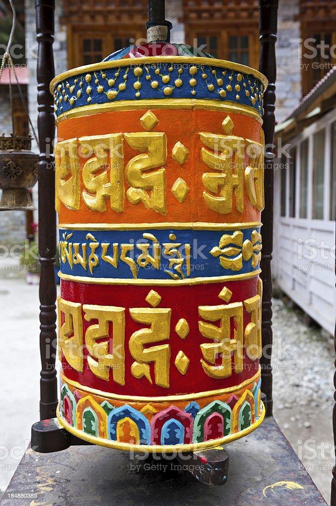 Colourful Buddhist prayer wheel Khumbu Himalaya Nepal royalty-free stock photo