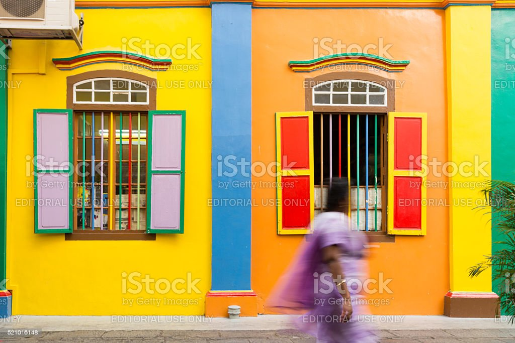 Colourful building in Little India stock photo