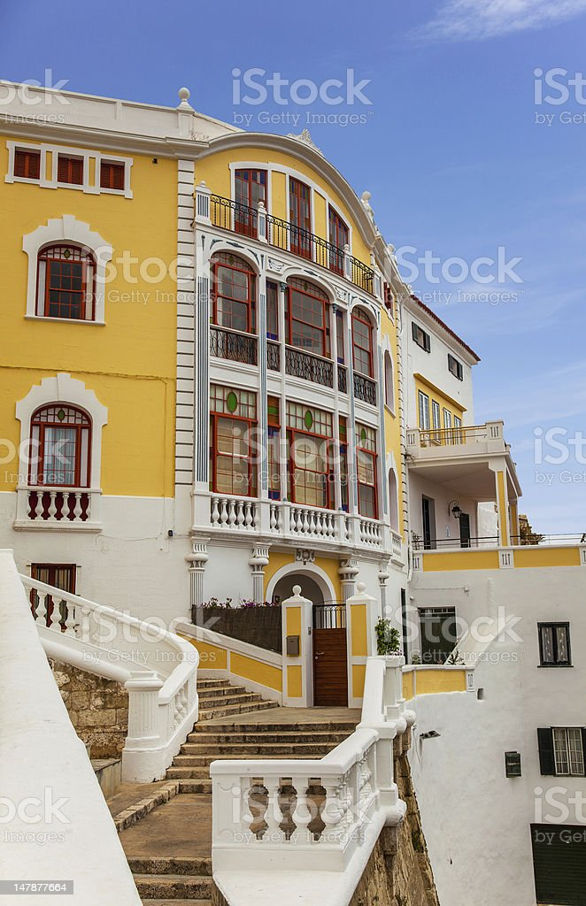 Colourful Building in mahon stock photo