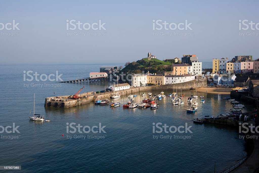 Colourful buildings around the harbour, Tenby, Pembrokeshire, Wales, UK stock photo