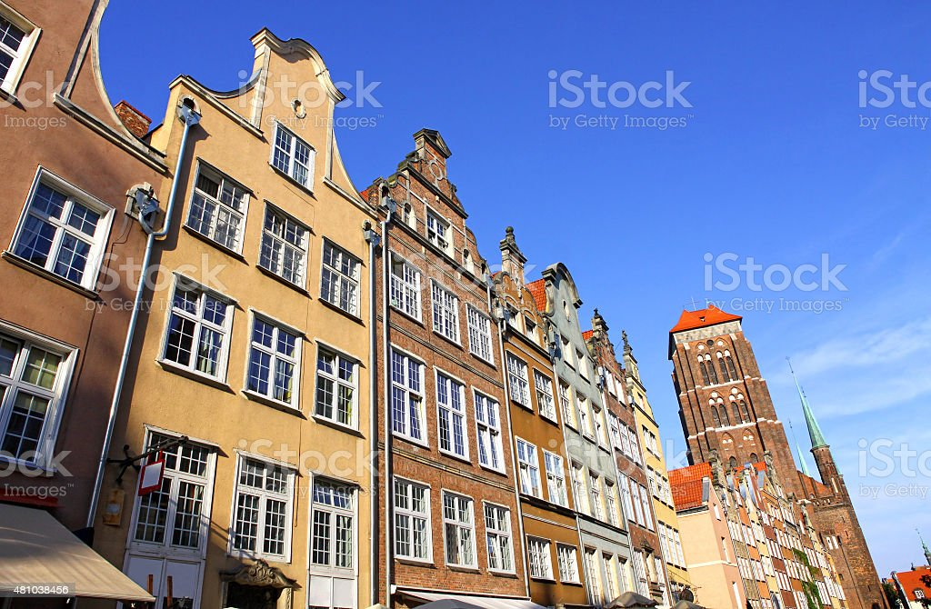 Colourful buildings in Gdansk city stock photo