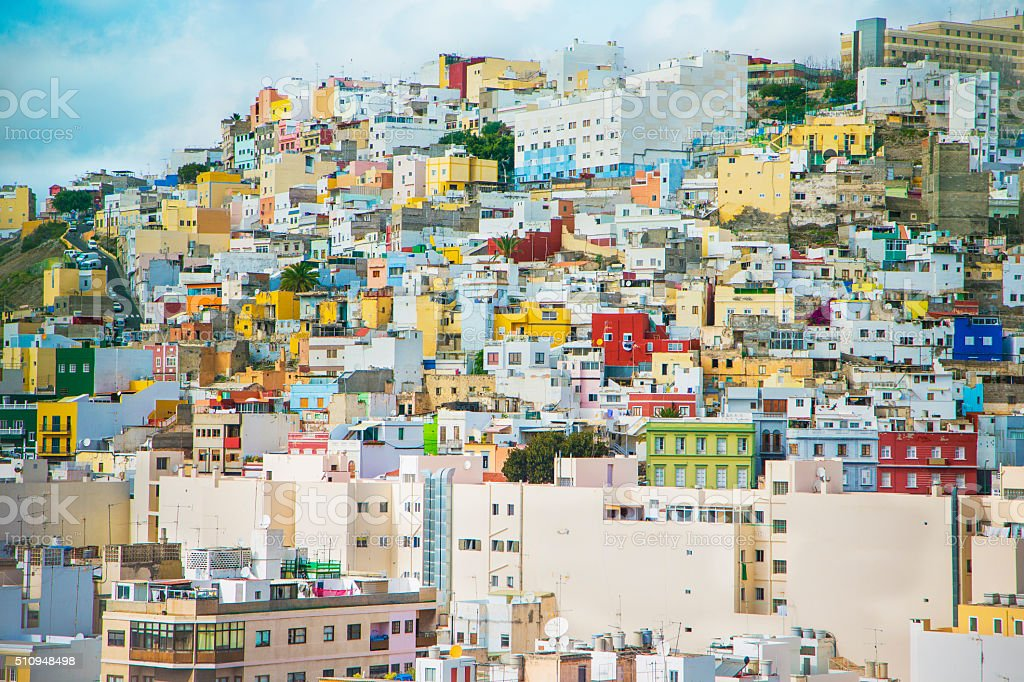 Colourful buildings in Gran Canaria stock photo