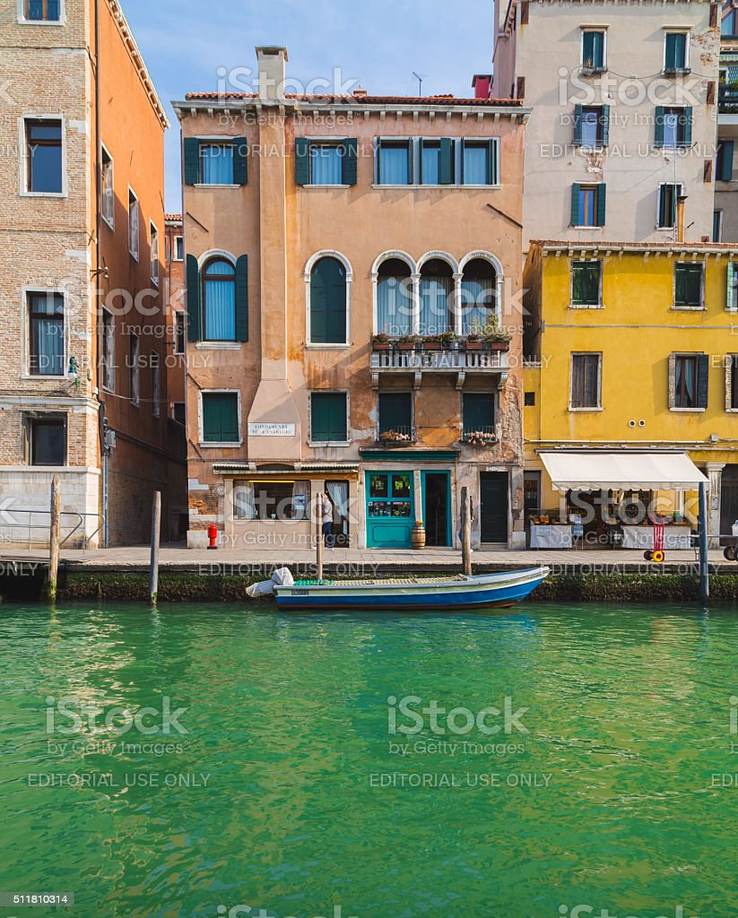 Colourful Buildings in Venice stock photo