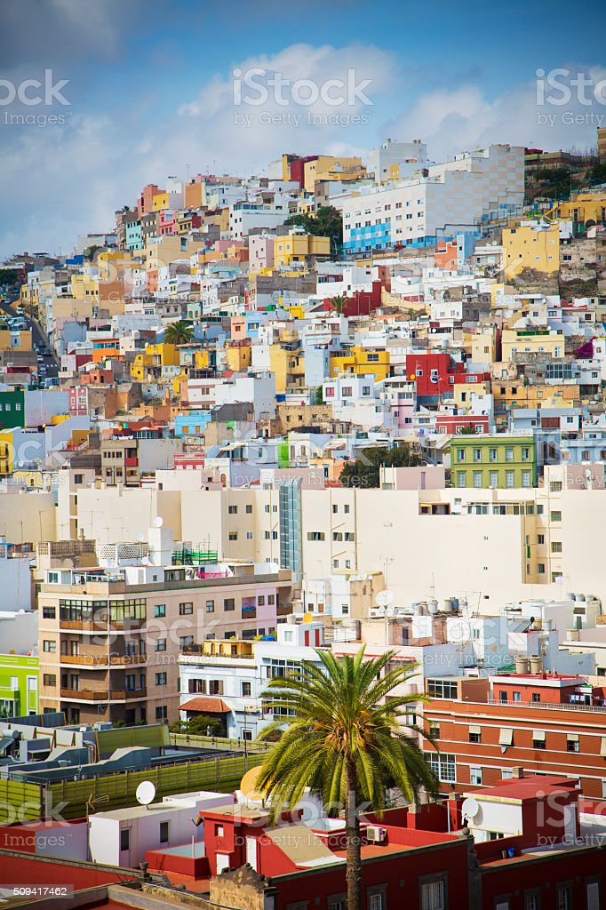 Colourful buildings of Las Palmas stock photo