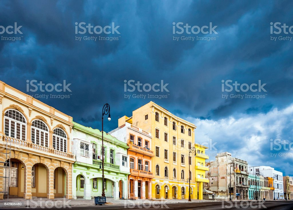 Colourful buildings on Malecon, Havana. stock photo