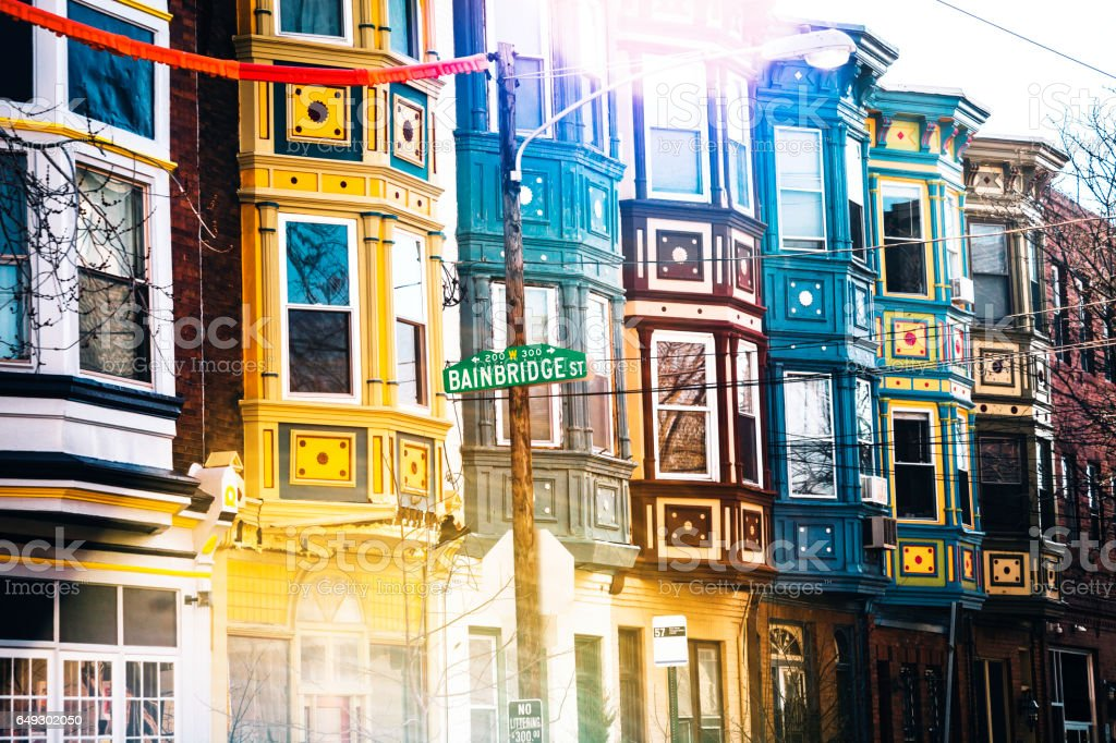 Colourful buildings on South Street, Philadelphia. stock photo