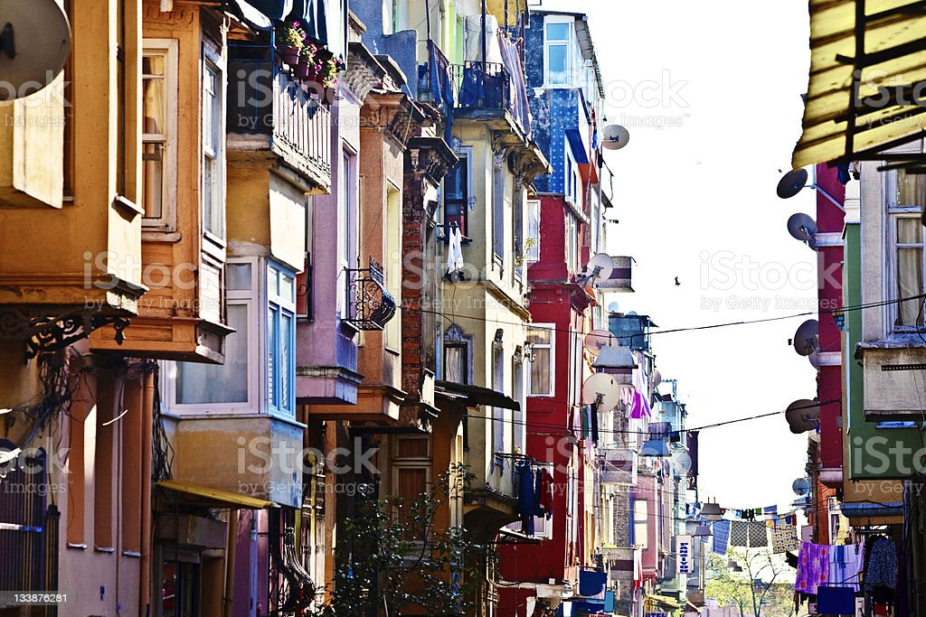 colourful buildings stock photo
