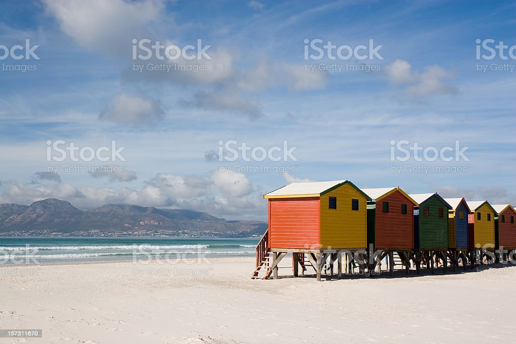 Colourful Cabins on Empty Beach royalty-free stock photo