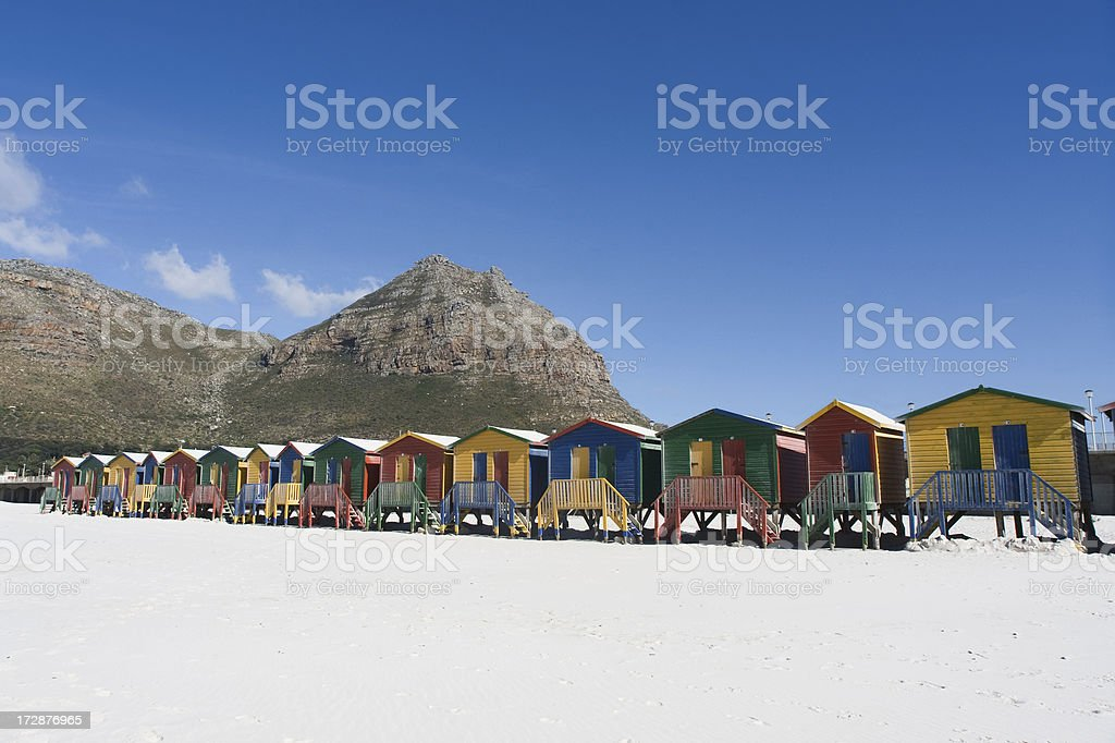 Colourful Cabins on the Beach royalty-free stock photo