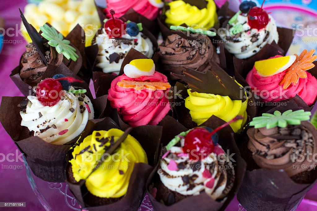 Colourful cakes stock photo