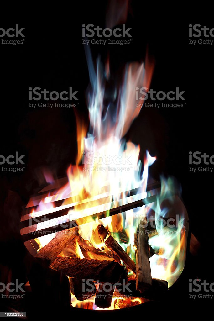 Colourful Campfire Flames royalty-free stock photo
