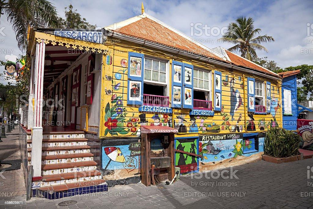 Colourful Caribbean Creole restaurant stock photo