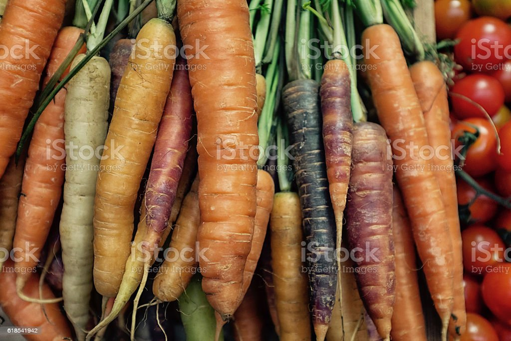 Colourful Carrots and Tomatoes stock photo