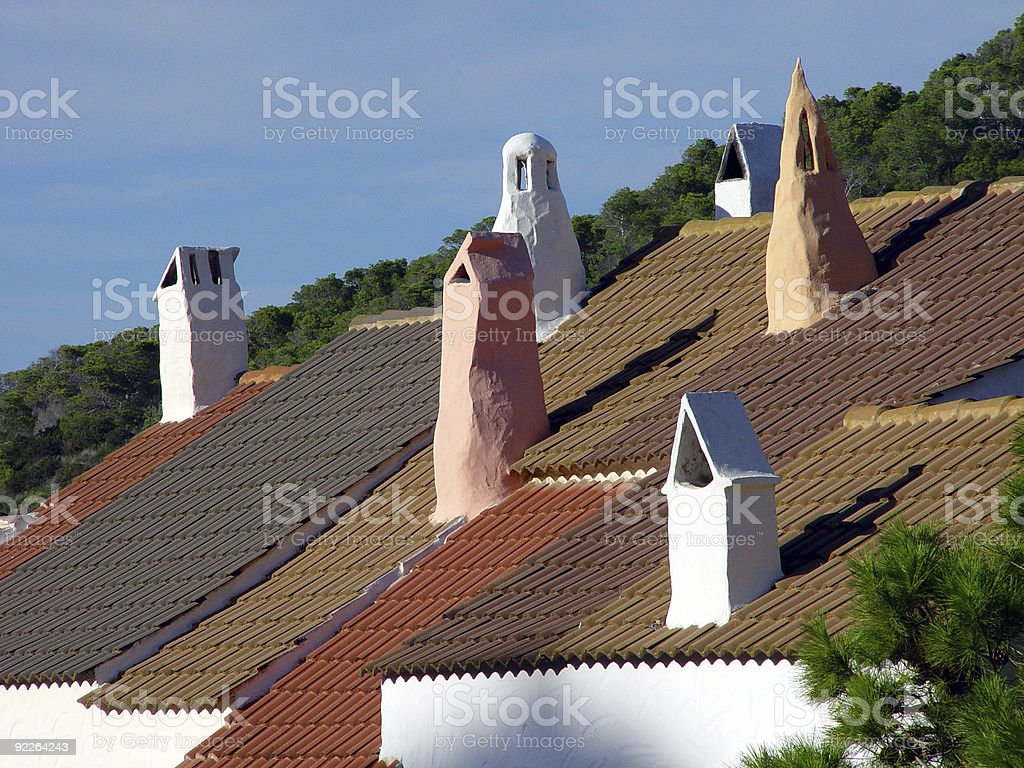 Colourful chimney pots royalty-free stock photo