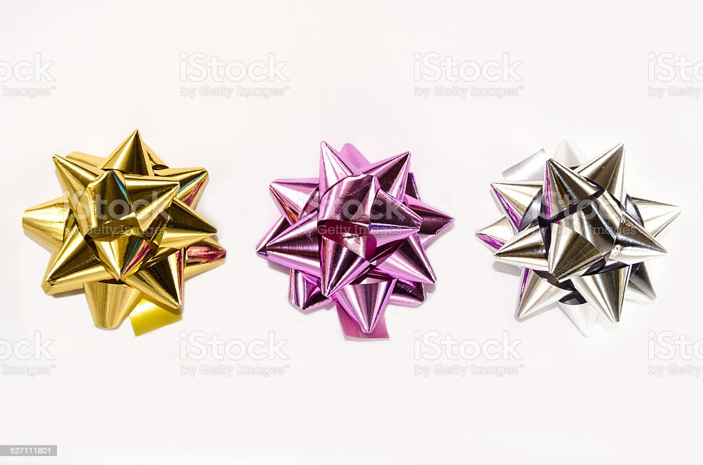 Colourful Christmas bows stock photo